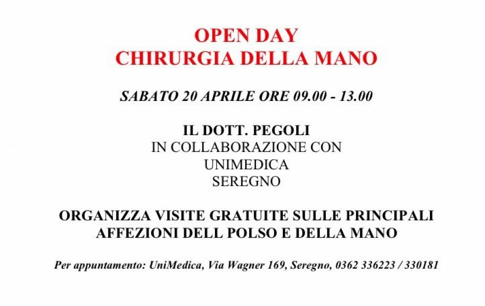 COPIA - OPEN DAY CHIRURGIA DELLA MANO